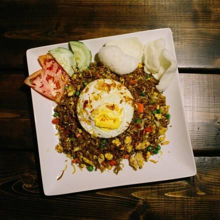 Rickshaw Republic best chicago rooftop restaurants; Indonesian fried rice